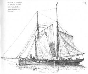 To fine tegninger af kragejoller fra Andreas Laursens bog Danske Lystfartøjer gennem 100 år (Høst & Søn).