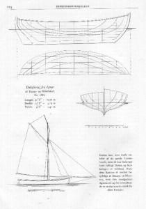 Illustration fra bogen Hvide Sejl - den klassiske Frederikssundsjolle, en båd fra Lynæs til tunge- og sildefiskeri.