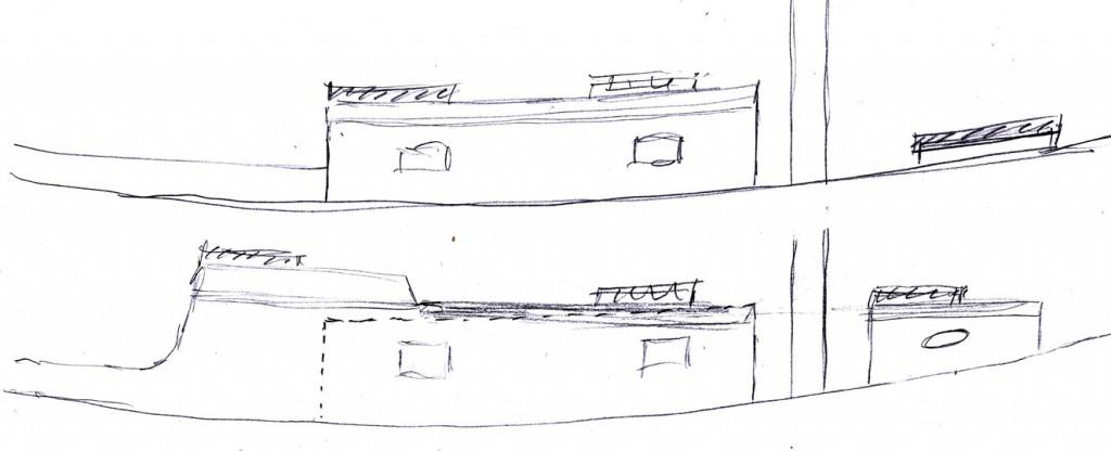 Øverst den oprindelige linie, nederst linienføringen med doghouse, monteret i 1960erne. Linierne er overdrevne for at tydeliggøre.